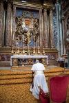 Pope Francis praying at Rome's Santa Maria Maggiore basilica